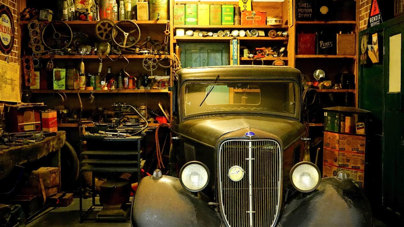 cluttered retro garage