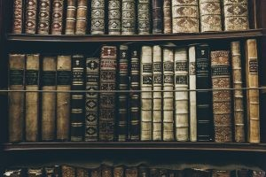 old books on a bookshelf